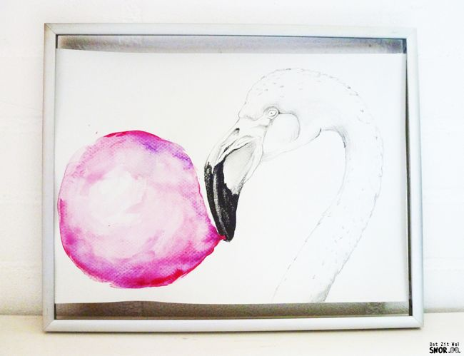 Kauwgom Roze Flamingo Illustratie