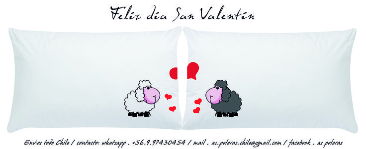 REGALA EMOCIONES, REGALA ALMOHADAS PARA SOÑAR...   DISEÑOS EXCLUSIVOS Y ORIGINALES   PAR ALMOHADAS: 19.900   MATERIALES:  FUNDA LONETA 100% ALGODON ESTAMPADO TRANSFER  INCLUYE ALMOHADA RELLENO SINTETICO.   ENVIOS A TODO CHILE CONTACTO Y PEDIDOS  WHATSAPP: +56997430454  MAIL: as.poleras.chile@...  Facebook: AS POLERAS / GD BY GMRD