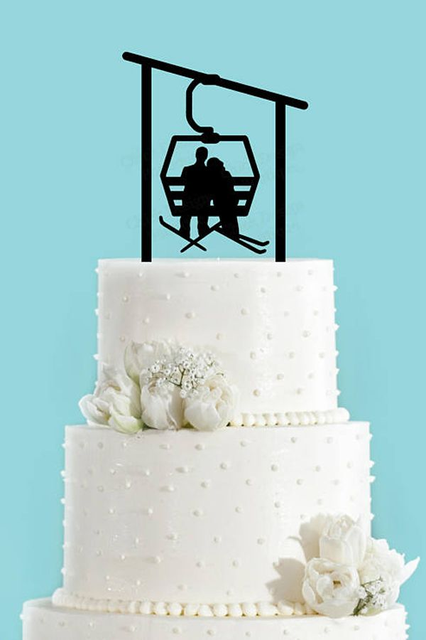 Winter Wedding Ski Lift Cake Topper Skiing Destination In The Mountains Anniversary Party Decor Weddings