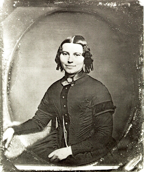 Clara Barton, 1821-1912, founder of American Red Cross. Aww. How often did Victorians smile in these long-sit photos? Now I love her all the more.