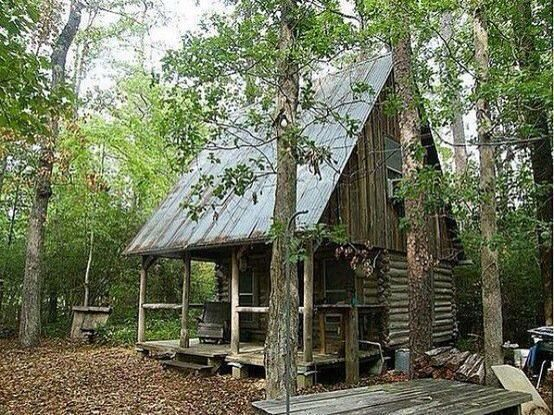 beautiful old cabin in the woods