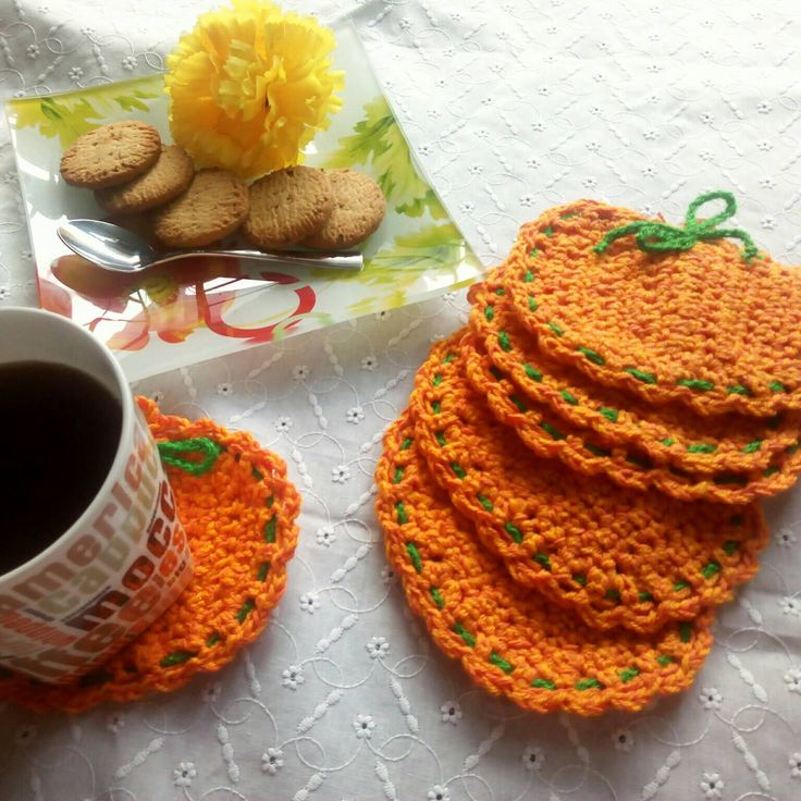Halloween pumpkin coasters, autumn decorations, kitchen and coffee table accessory, coaster set of six, gifts for her, present for friend by NataschaSood on Etsy