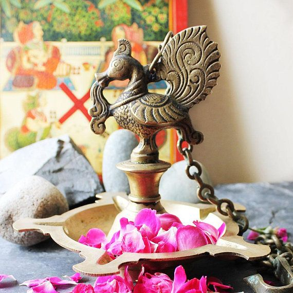 Majestic Brass Peacock Oil Lamp With 5 Diyas Is Hand Crafted By Skilled  Artisans From The