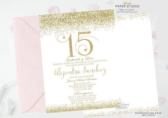 Gold Quinceanera, Sweet 16 Invitation, Quinceanera Invite, Gold Confetti Birthday, Gold Glitter Invite, Birthday Invitation,  BDQ090