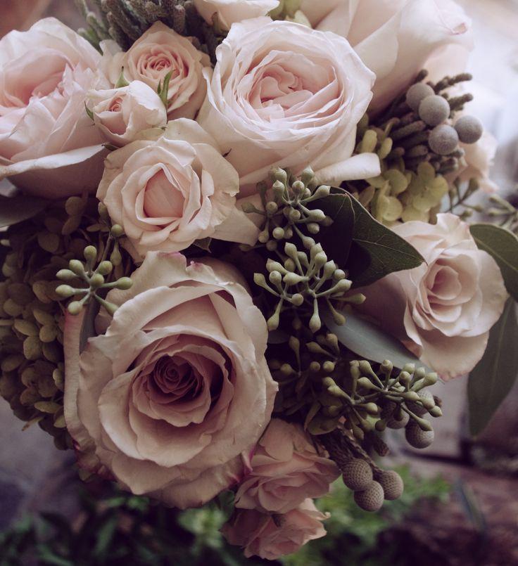 Romantic and Vintage Bridal Bouquet of antique hydrangeas, garden roses, quicksand roses, spray roses, brunia, and seeded eucalyptus @botanystudio