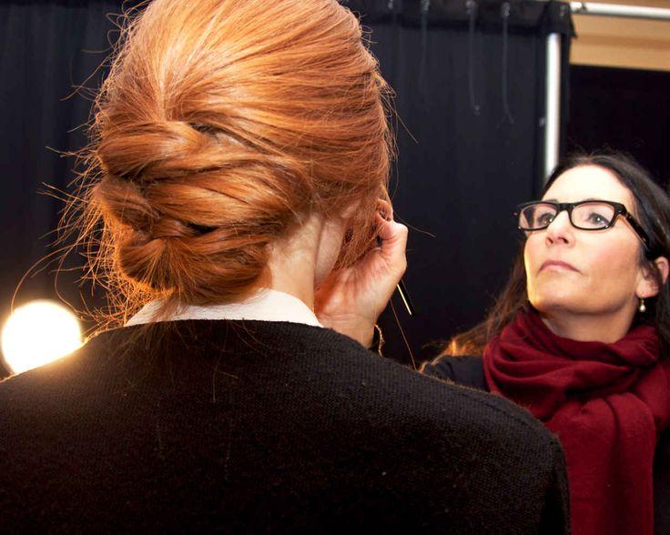 THE Bobbi Brown applying makeup. Isn't the hair stunning?