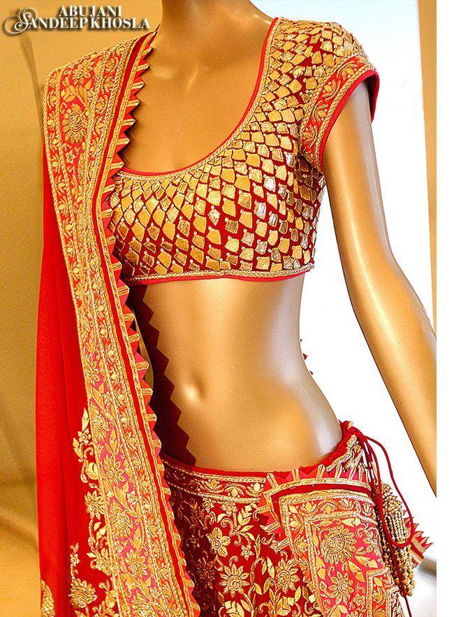 Abu Jani Sandeep Khosla Renaissance 2014 Collection Red & Gold Embellished Bridal #Lehenga.