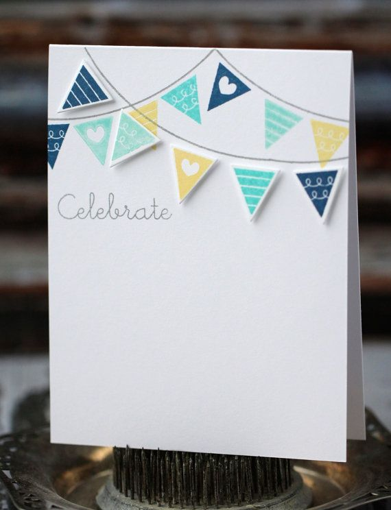 Celebrate - handmade card, blue, aqua, and yellow banner via Etsy