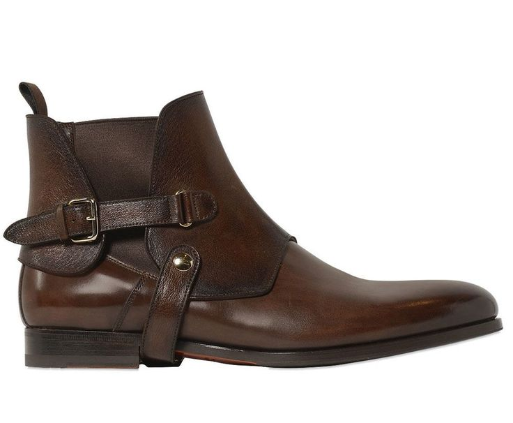 Handmade Men's Chelsea Upper Strap detail Leather Boots, Buckle detail Boots #Handmade #AnkleBoots