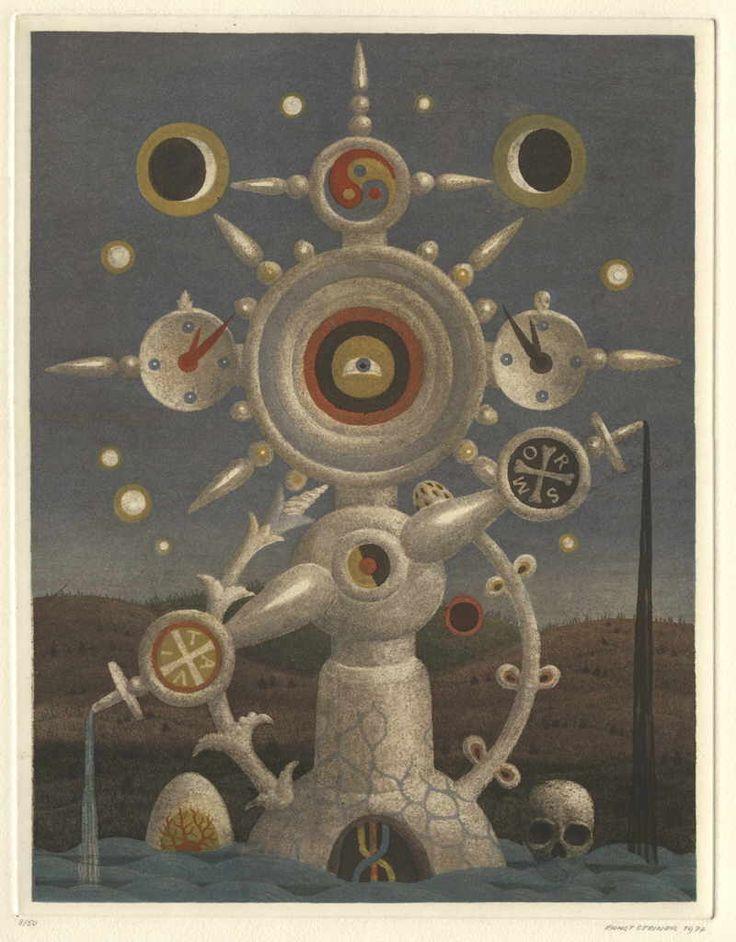 """Steiner Ernst """"Kreuz"""", 1977 Farbradierung Plattengröße 28 x 21 cm Blattgröße 53 x 41 cm"""
