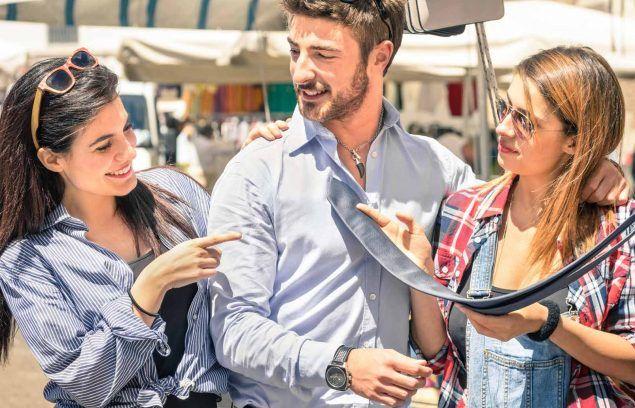 shoppers at a flea market