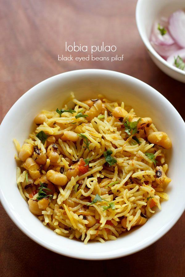 lobia pulao recipe with step by step photos - pulao made with black eyed beans, onions, herbs and spices. black eyed beans are also called as lobia in hindi, rongi in punjabi and chawli in