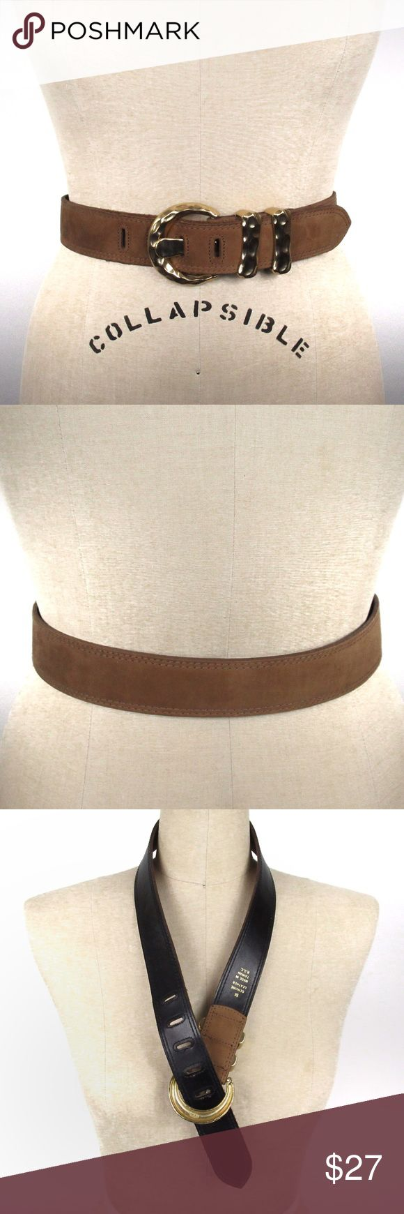 Express Vintage Leather Belt Hammered Gold Buckle Express vintage brown genuine leather (looks more like suede) with gorgeous gold hammered metal buckle. Approx 1.5in Width, 35.5in Total L, 28in L (to Shortest Hole), 32in L (to Longest Hole) with 5 holes- in excellent vintage condition. Size M, however I believe it to fit more like a S/M. No trades or modeling, offers welcomed. Express Accessories Belts