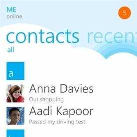 Beautiful Skype interface on new Windows Phone