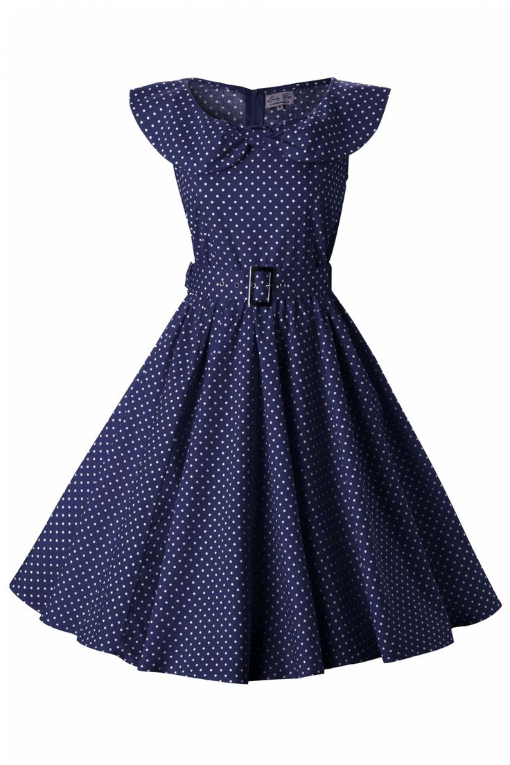 Lindy Bop - 1950's MaryLou Navy Polka Dot Bow Sjawl Collar vintage style