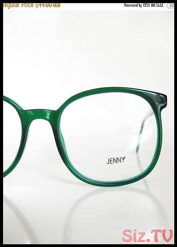 1970s Round Emerald Green Eyeglasses Sunglasses Oversized Clear Forest Womens La… – Oversized Sunglasses