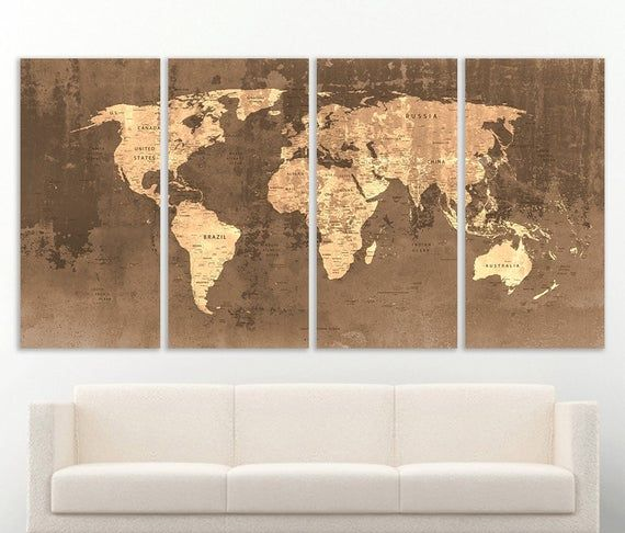 World Map Canvas Print Wall Art Push Pin World Map Wall Decor World Map Print World Map Art Travel M
