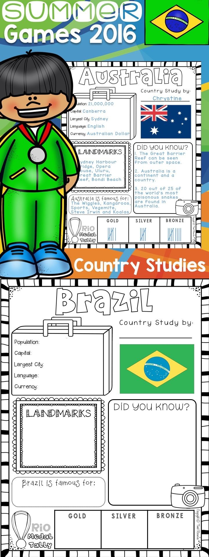 Rio Summer Olympics Country Study Worksheets