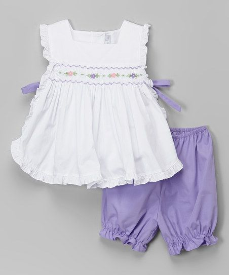 Fantaisie Kids White & Purple Pinafore Smocked Top & Bloomers - Infant & Toddler   zulily