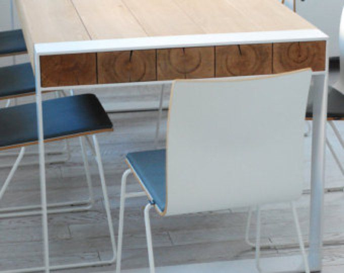 Handmade dining set  steel & timber table with benches