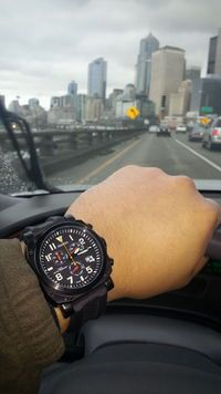 Great shot of our ZULU-05 Chronograph Aviator Watch! Comfortable in a Cockpit or a Cocktail Party! Built for Pilots, by Pilots!