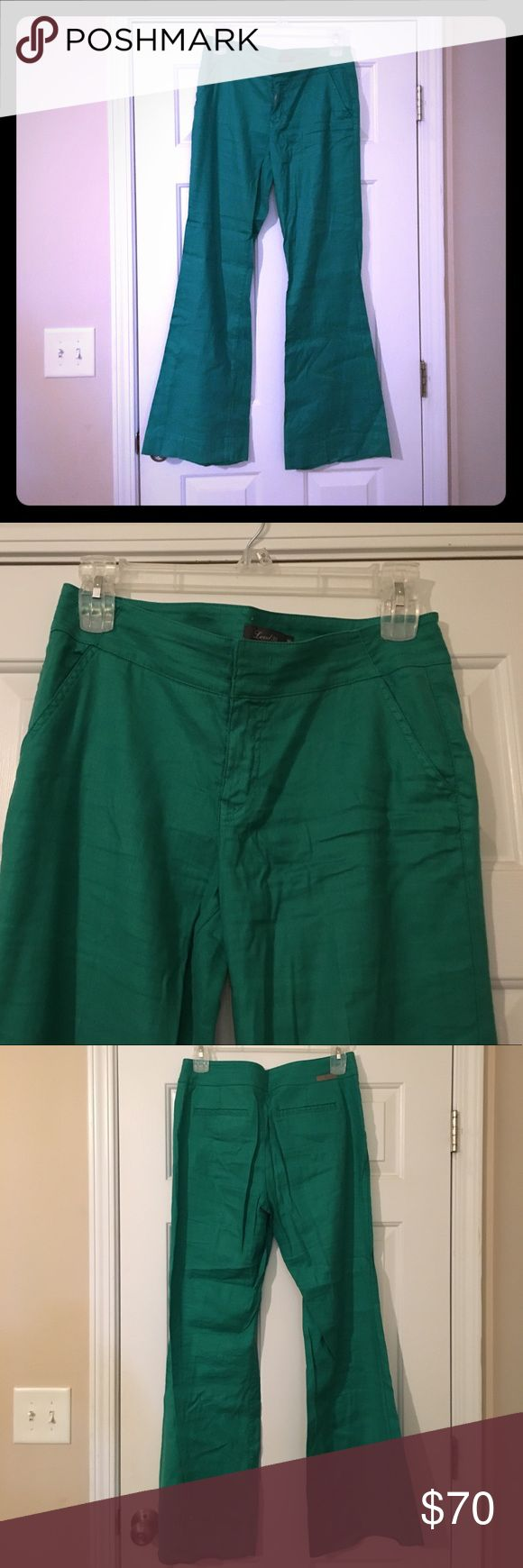Level 99 Linen Flares Amazing kelly green linen flares. Worn once. Small pull below back welt pocket. Anthropologie Pants Wide Leg