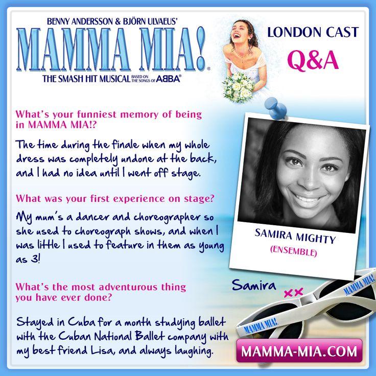 #MeetTheCast, the f-ABBA-lous Samira Mighty part of the 2016/17 London ensemble.  MAMMA MIA! London INFO/TICKETS: www.mamma-mia.com  #MammaMiaMusical #MammaMiaLondon