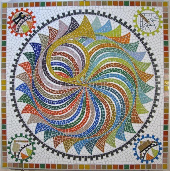 Mosaic mandala within a square frame