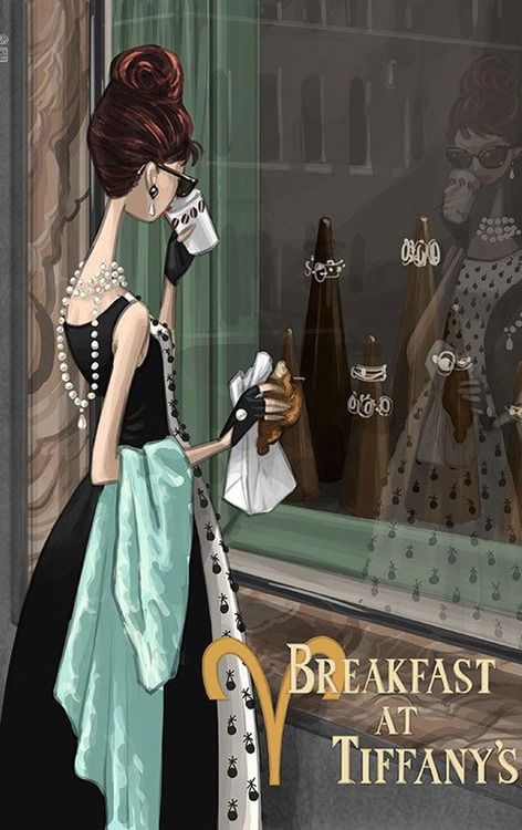 Window Shopping - Breakfast at Tiffany's Illustration
