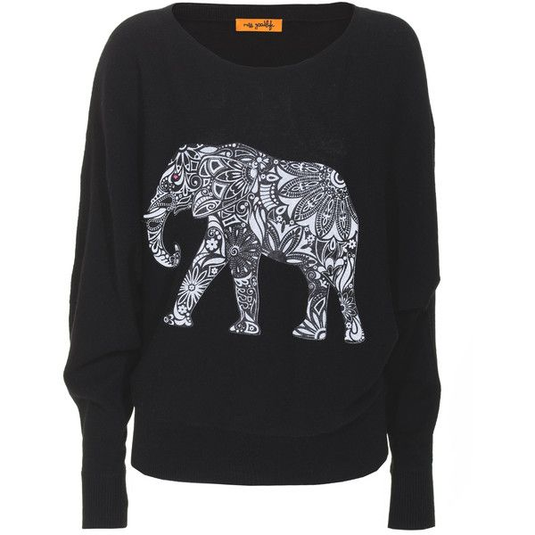 Miss Goodlife Elephant Pattern Black Cashmere sweater with print (€119) found on Polyvore