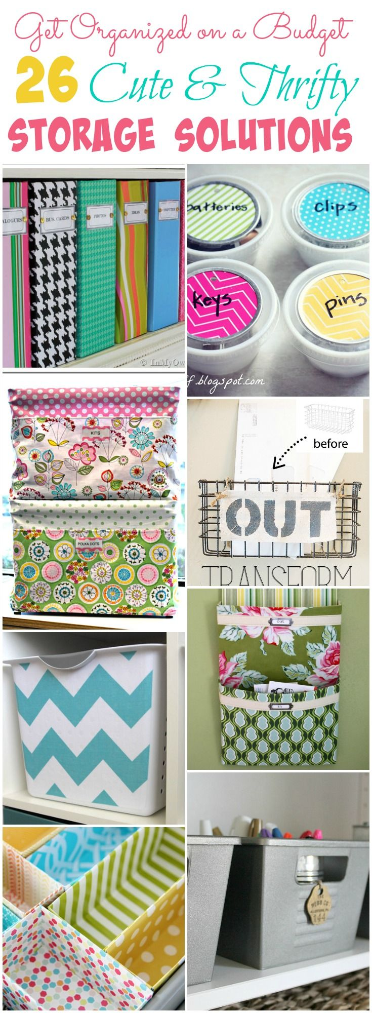Get Organized on a Budget with these 26 cute and thrifty storage solution ideas at thehappyhousie.com