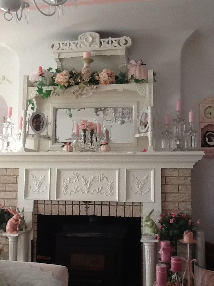 Shabby Chic Living Room/Fireplace ... .•°¤*(¯`★´¯)*¤° Shabby Chic.•°¤*(¯`★´¯)*¤°