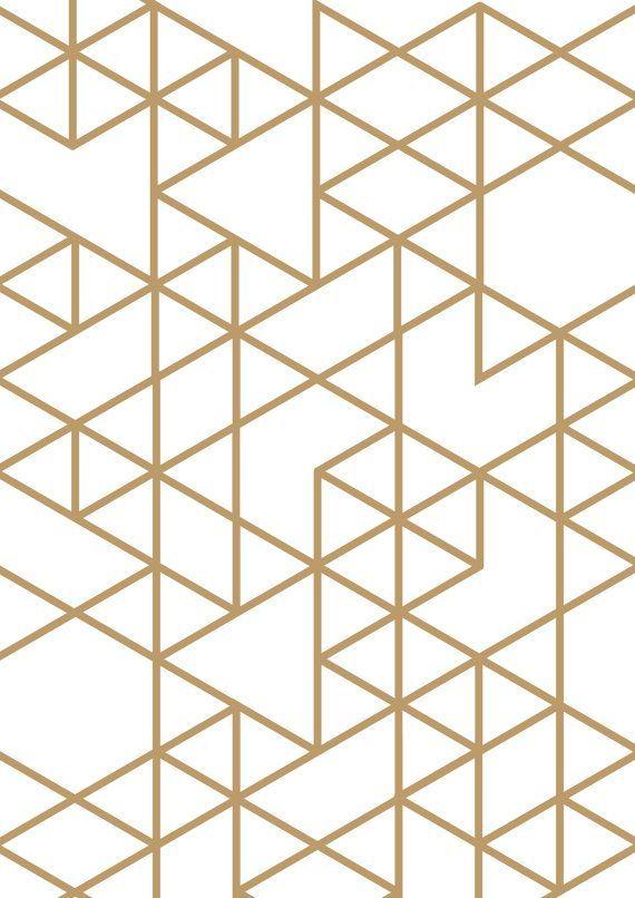 Triangle print Gold triangle Geometric print by planeta444 on Etsy