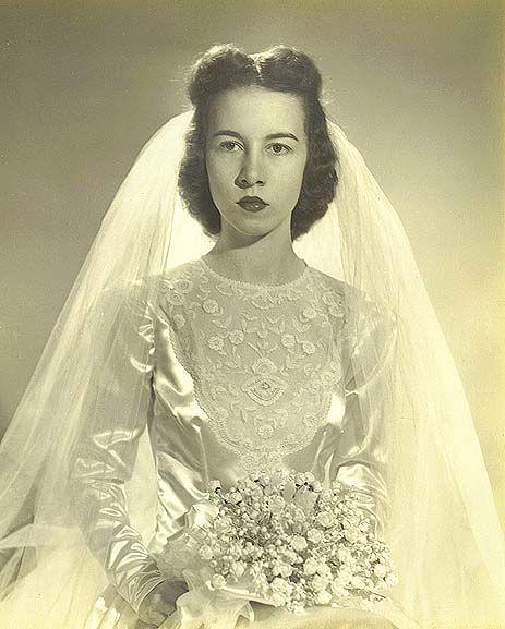 Gardner's first wife, the former Mary Ella Buchanan, in her wedding dress, October 14, 1944, in Aberdeen, Maryland