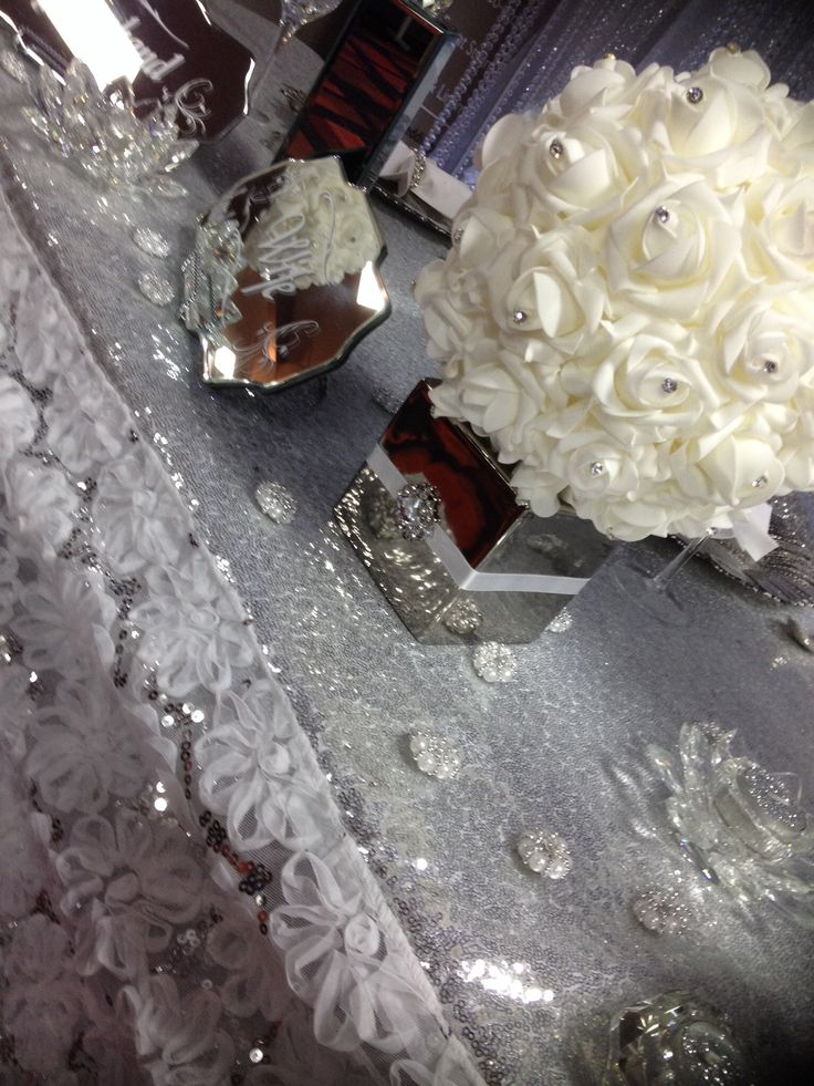 Mirrored cases, centrepieces , table mirrors, pearl scatters, table sign, Mr& Mrs