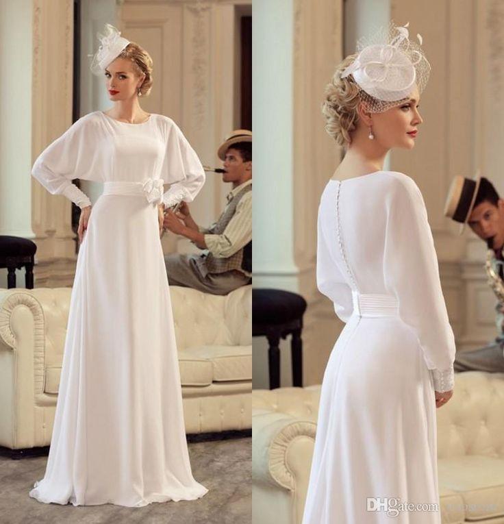 Vintage Silk Chiffon Wedding Dresses Elegant Long Sleeves Bridal Gown Mother Dress Modest Formal Dress Gowns