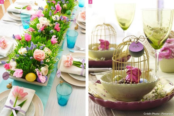 Les plus belles tables de Pâques vues sur Pinterest : préparez la décoration des tables de Pâques avec des plantes colorées, des cages et des lapins. Sans oublier les chocolats de Pâques sur la table.