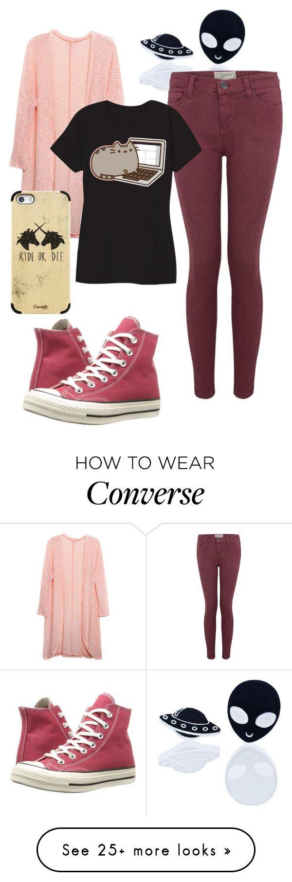 """Untitled #363"" by the-indie-rock-queen on Polyvore featuring Haus of Dizzy, Relaxfeel, Current/Elliott, Casetify, Pusheen and Converse"