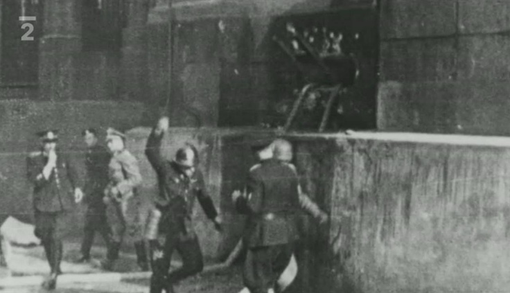Siege of the crypt of the church of Saints Cyril and Methodius. A ladder visible in the crypt window was used by paratroopers to push out fire hoses. Photo from http://www.ceskatelevize.cz/porady/10350893065-heydrich-konecne-reseni