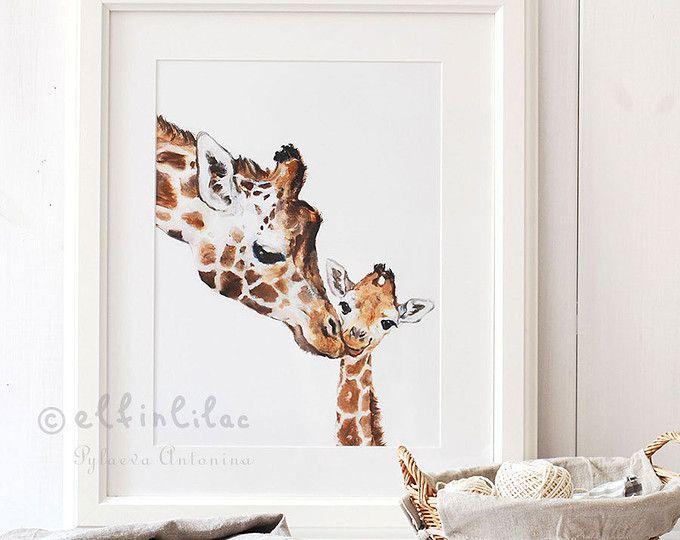 Giraffe kwekerij Print, Giraffe Fine Art Print, Giclee, Giraffe kunst, kinderdagverblijf inrichting, moeder en Baby Giraffe, Safari kwekerij kunst, Giraffe Print