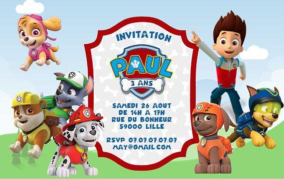 Kit anniversaire Pat Patrouille personnalisé à télécharger - invitation personnalisée avec logo, prénom et âge de l'enfant