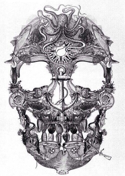 Nautical sugar skull