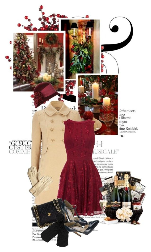 """""""christmas dinner party.gift for the hostess."""" by mercimasada ❤ liked on Polyvore featuring Pier 1 Imports, Wallis, Betmar, Oasis, Chanel, Monki, John Lewis, vintage, chain strap handbags and lace dresses"""