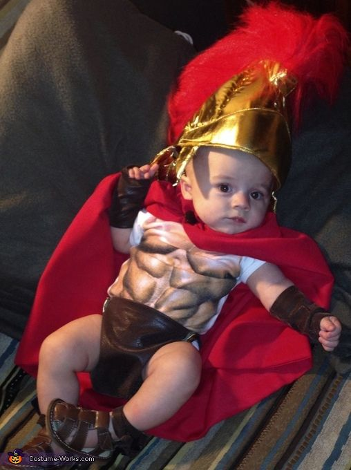 Laci: My son Ryder is wearing a spartan costume. Saw some pics online of the idea and decided that's what I wanted his costume to be. My grandma made the cape,...