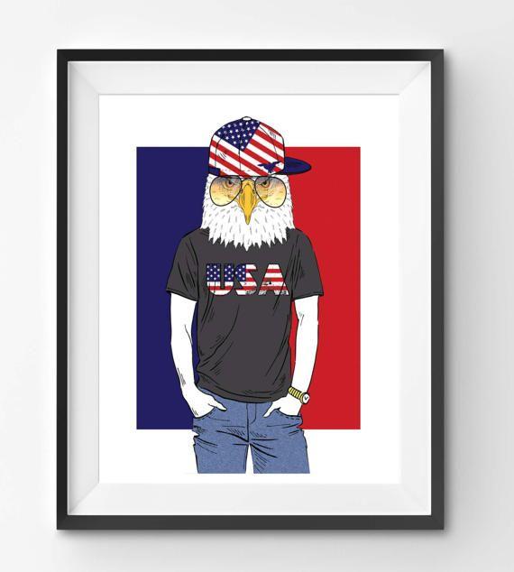 USA Eagle with sun glasses Animal Print Fashion Animal Eagle