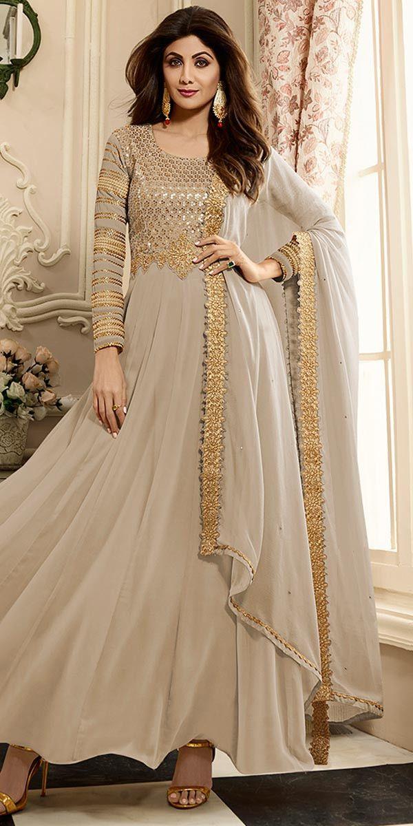 Shilpa Shetty Georgette Brown Anarkali Suit.
