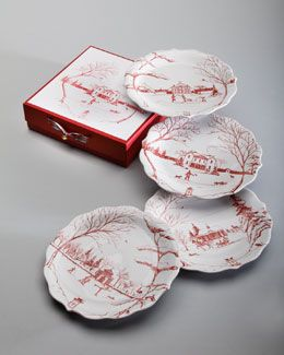 "H7M7M Juliska Four Ruby ""Winter Frolic"" Party Plates"