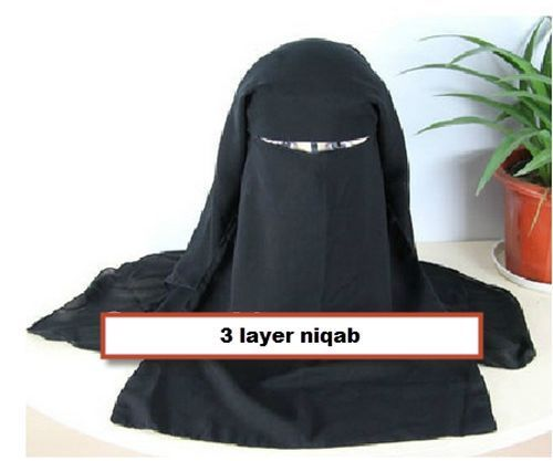 Black 3 layer Niqab veil burqa face cover Hijab Abaya new muslim islamic hejab