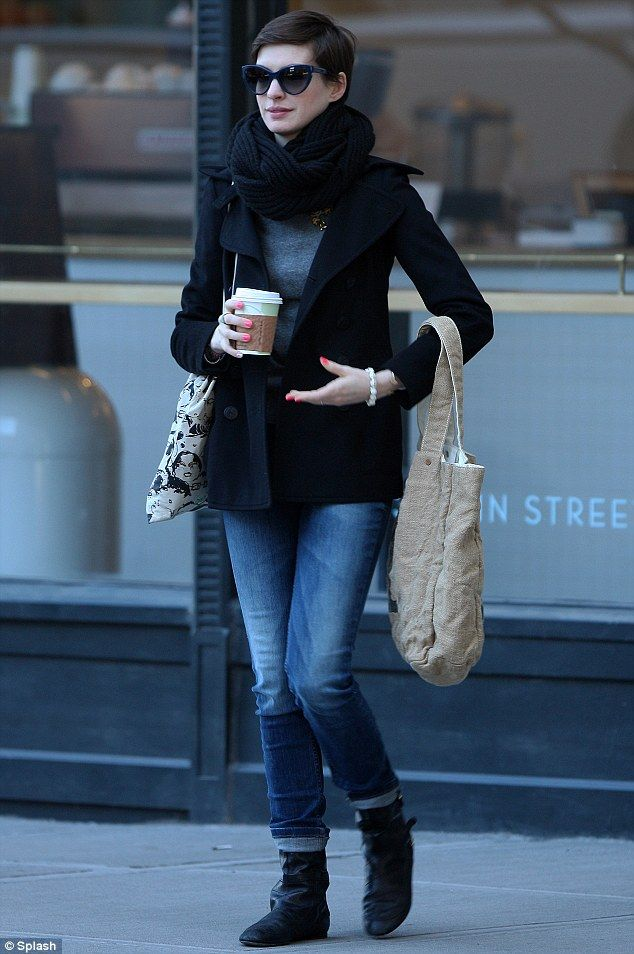 Anne Hathaway stepped out in Brooklyn, New York sporting brightly-coloured talons