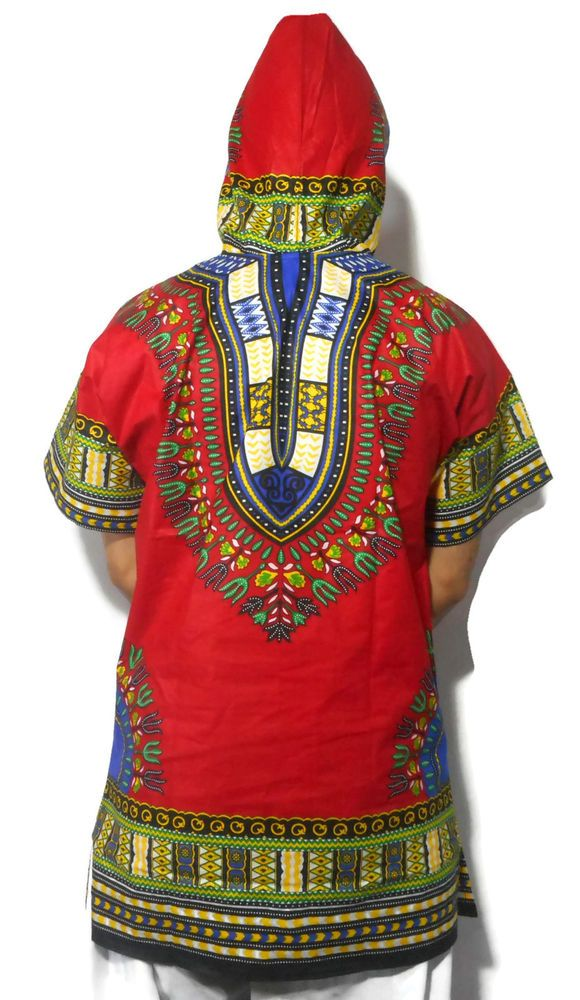 African Dashiki Hoodie Mens Women Hoody Top W/ Hood Traditional Blouse Large #Handmade #DashikiUnisexAdult